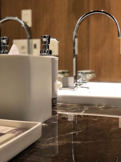 Närbild på ett badrum i Lund